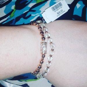 Rhinestone accented stretchy bracelet set
